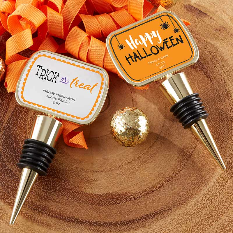 Personalized Gold Bottle Stopper - Halloween