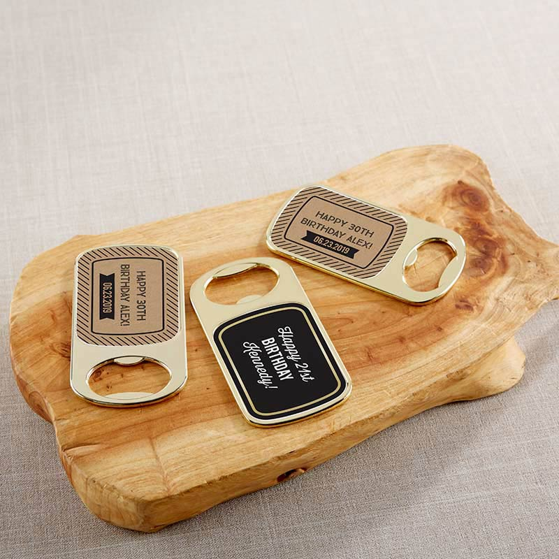 Personalized Gold Bottle Opener - Boozie Birthday