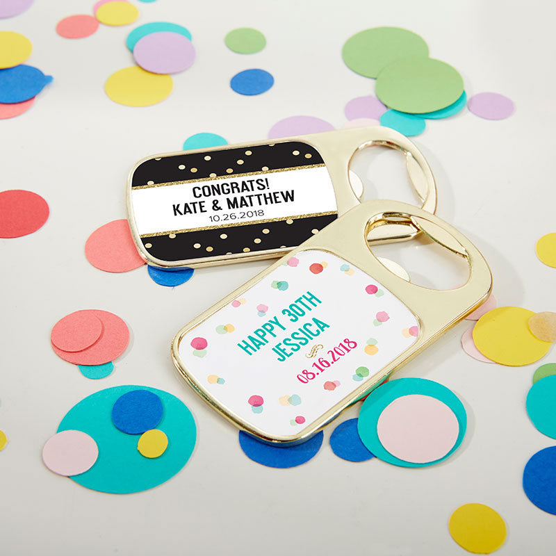 Personalized Gold Bottle Opener - Party Time