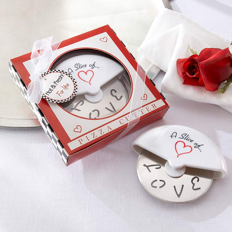 """A Slice of Love"" Stainless-Steel Pizza Cutter in Miniature Pizza Box"