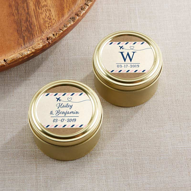 Personalized Gold Round Candy Tin - Travel & Adventure (Set of 12)