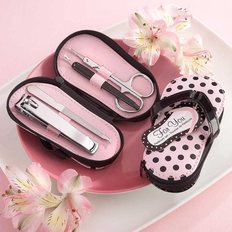 """Pink Polka Flip Flop"" Five Piece Pedicure Set with Matching Tag"