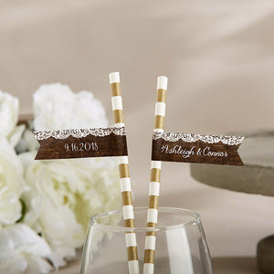 Personalized Party Straw Flags - Rustic Charm Wedding
