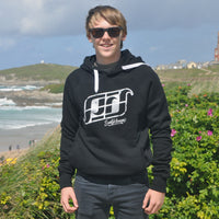 'Surf Kernow Logo' - Black organic cotton hoodie – Modelled by local surfer Jay at Fistral beach in Newquay, Cornwall.