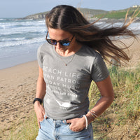 'Beach Life' - Light grey organic cotton surf t-shirt – Modelled by local surfer Dannie at Fistral beach in Newquay, Cornwall.