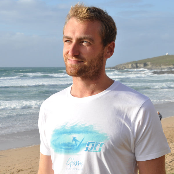 'Glassy' - White organic cotton surf t-shirt – Modelled by local surfer JB at Fistral beach in Newquay, Cornwall.
