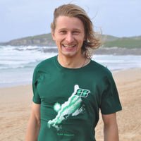 'Coast Rider' - Bottle green organic cotton surf t-shirt – Modelled by local surfer René at Fistral beach in Newquay, Cornwall.