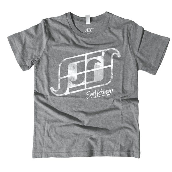 'SK Logo' - Light Grey Organic Cotton Surf T-shirt (Kids) - Designed and printed in Cornwall.