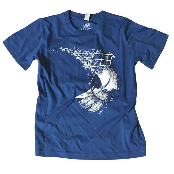 'Carve' - Bright Blue Organic Cotton Surf T-shirt (Kids) - Designed & printed in Cornwall.
