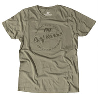 'Surf Kernow Seal' - Walnut Organic Cotton Surf T-shirt (Men/Unisex) - Designed and printed in Cornwall.