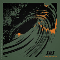 Design features a screen-printed illustration of a Cornish sunset as seen through a barrelling wave, in contrasting black and fluorescent orange.