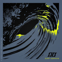 Design features a screen-printed illustration of a Cornish sunset as seen through a barrelling wave, in contrasting black and fluorescent yellow.
