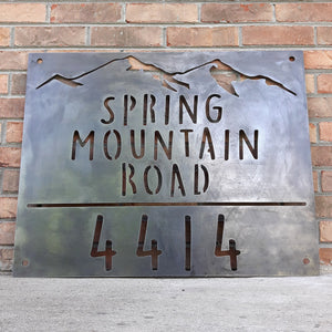 Personalized Mountain Address Metal Sign - Home, Rustic, Country, Countryside, Rural