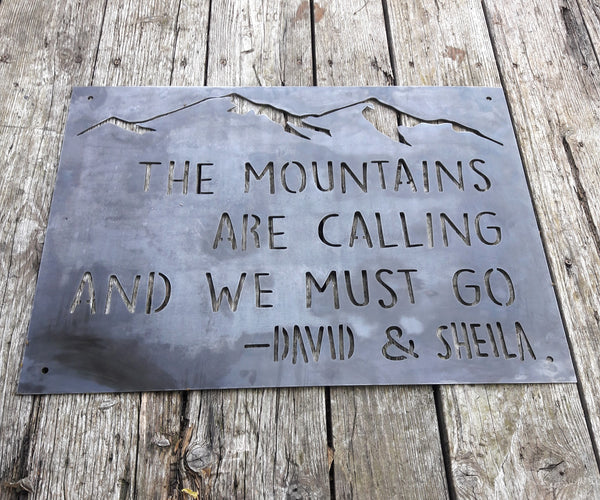 Couple's Mountain Sign - Custom Metal Wedding Sign - Outdoor Adventure Wall Art