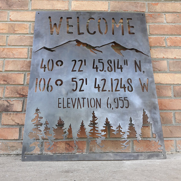 Mountain Coordinate & Elevation Sign - Custom Metal Mountains and Trees Decor - Welcome, Cabin Wall Art