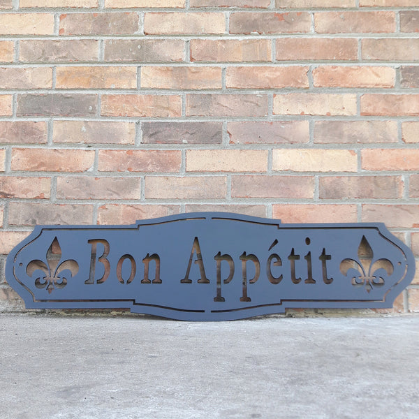"French country, outdoor black powder coat, metal sign which reads, ""Bon Apetit"""