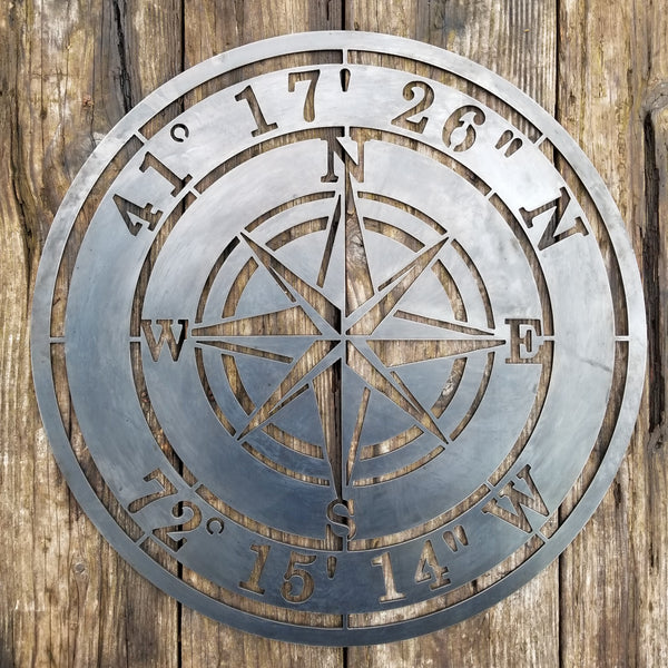 Personalized Compass Rose Metal Sign - Custom Coordinates - Nautical Address Wall Art