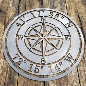 Compass Rose and Coordinates - Personalized
