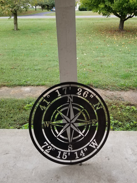 "Metal Compass Rose With Coordinates. The coordinates read, ""41 17 26 N 72 15 14 W"""