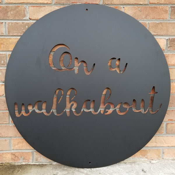 Personalized Round Sign, Your Text! Outdoor Black Powder, Custom Metal Sign