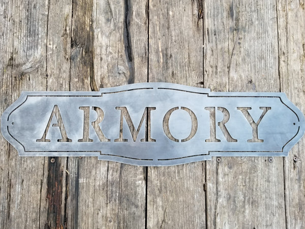 "This sign has a classic shape and reads, ""ARMORY"""