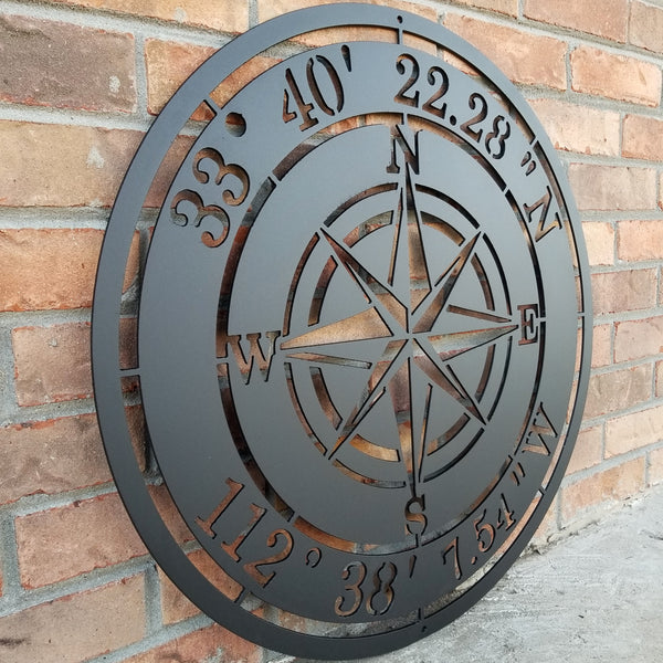 Outdoor black powder coated metal Compass Rose with coordinates
