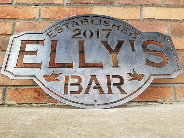 Vintage Metal Bar Sign - Tap, Lounge Established Wall Decor - Hops, Beer Mugs, Darts, Sparrows