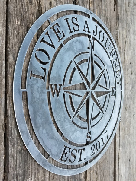 "A nautical compass rose which reads, ""Love is A Journey""."