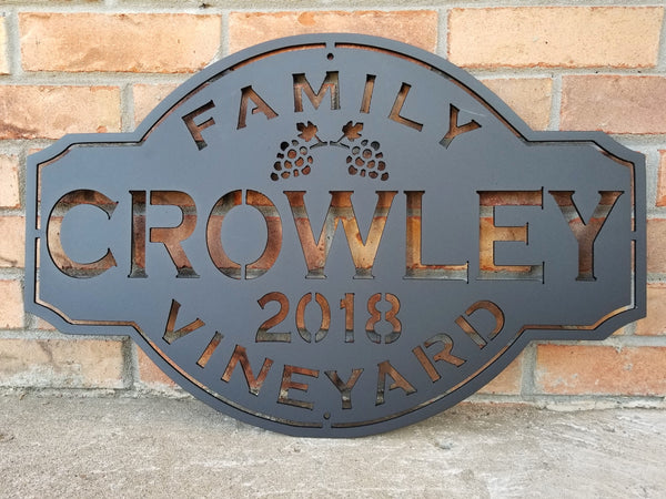 Personalized Vintage Family Vineyard Sign
