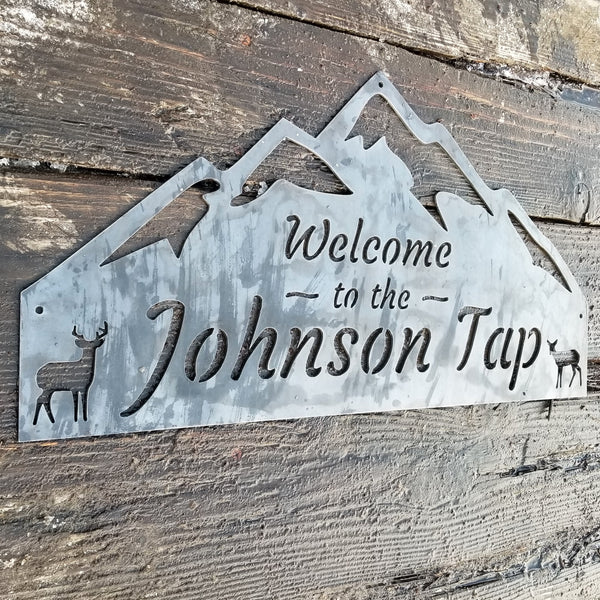 Personalized Metal Rustic Mountain Sign - Home, Woods, Forest, Deer, Buck, Doe