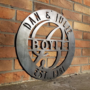 "This is a round metal wedding monogram with 1/4""holes for hanging that reads, "" Dan & Julie, Boyle, Established 1981"""