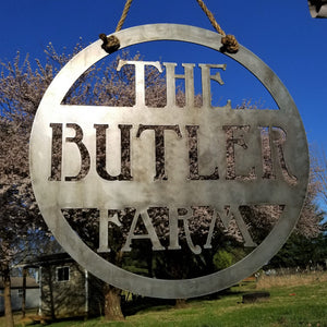 Hanging Farm Sign - Custom Metal Sign - Personalized Family Name Sign - Wedding Gift