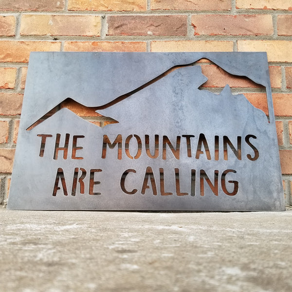 The Mountains Are Calling Metal Signs 2 pc Set - And I Must Go, John Muir, Wanderlust, Nature, Adventure, Couple, Pair