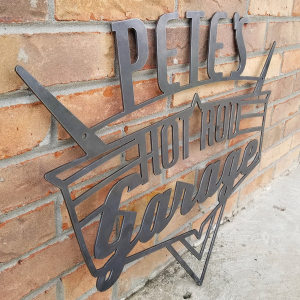 Personalized Hot Rod Garage Sign - Vintage Retro Wall Art - Drag Racing, Rat Rod Roadster Decor