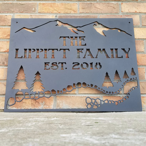 Rustic Mountain Creek Sign - Personalized, Pine Trees, Cabin, Resort, Creek, Mountain, River - Black Powder Coat Finish