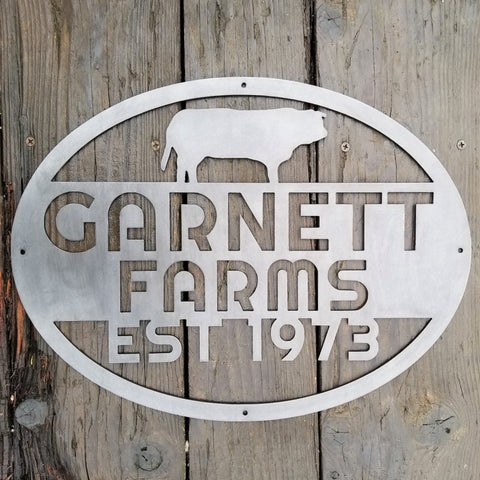 Custom Farm Sign - Personalized Farm Sign - Metal Animal Sign - Cow, Pig, Bear, Duck, Buck, Deer, Dog