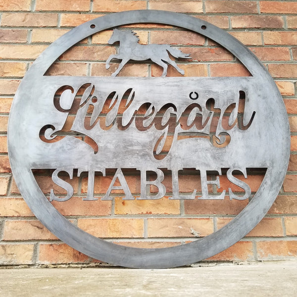 Hanging Metal Horse Sign - Equestrian, Stables, Western, Horseshoe, Quarter, Race, Thoroughbred, Tennessee Walker, Clydesdale