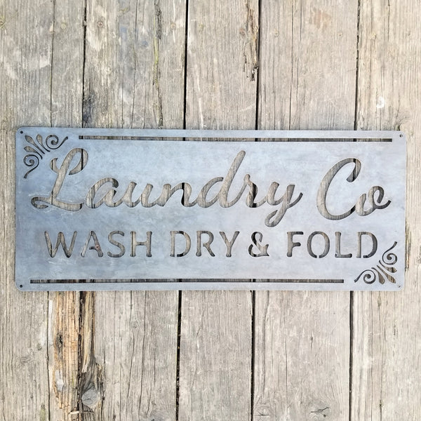 Laundry Co Wash Dry & Fold Sign - Rustic Metal Decor - Farmhouse Laundry Room Decor