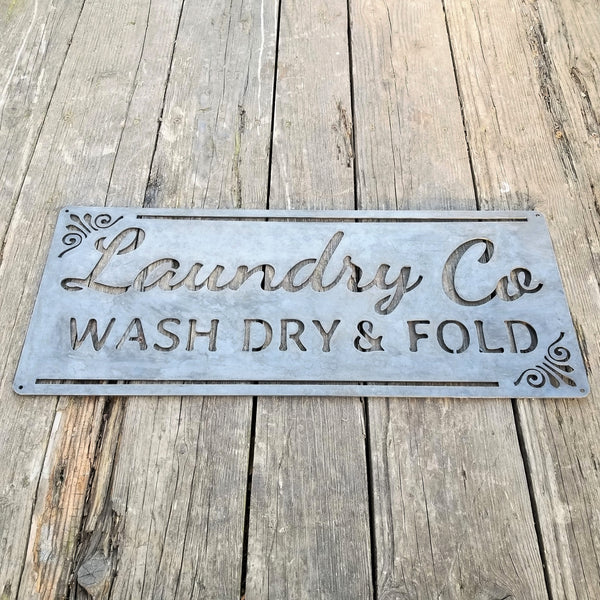Laundry Co Wash Dry & Fold Sign - Rustic Metal Decor