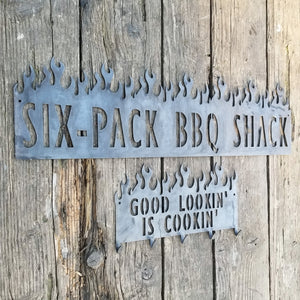 Six Pack BBQ Shack Sign (2 Pack) - Personalized, Flames, Barbeque