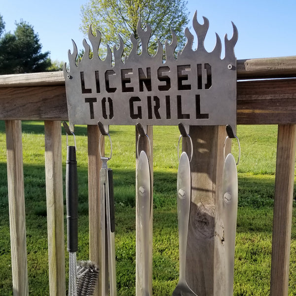 License to Grill Barbecue Sign (2 Pack) - Personalized, Flames, BBQ