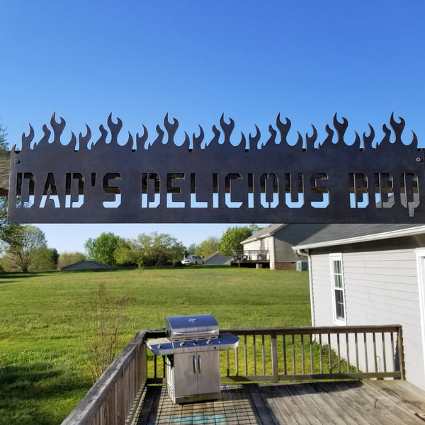 Personalized Metal Dad BBQ Sign - Barbeque, Barbecue, Smoker Decor - Green Egg, Traeger