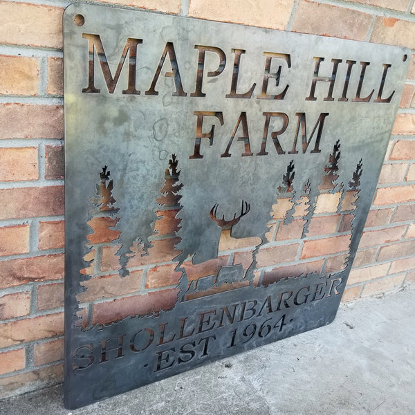 Personalized Rustic Wilderness Metal Sign - Maple Hill Farm - Customize Farm Name and Established Date