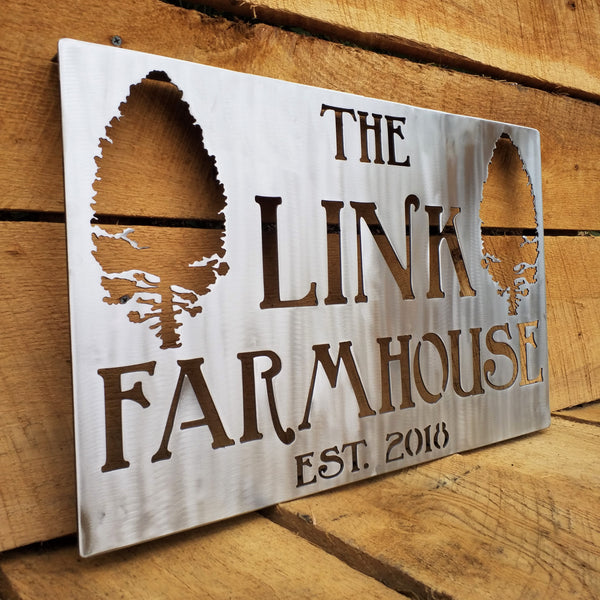 Personalized Stainless Steel Home Sign - Farm, Farmhouse, House, Trees, Forest, Country