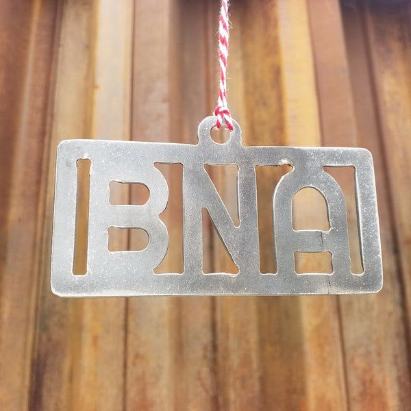 Airport Code Christmas Ornament - FREE SHIPPING, Stocking Stuffer, Holiday Gift, Tree, Metal Ornament