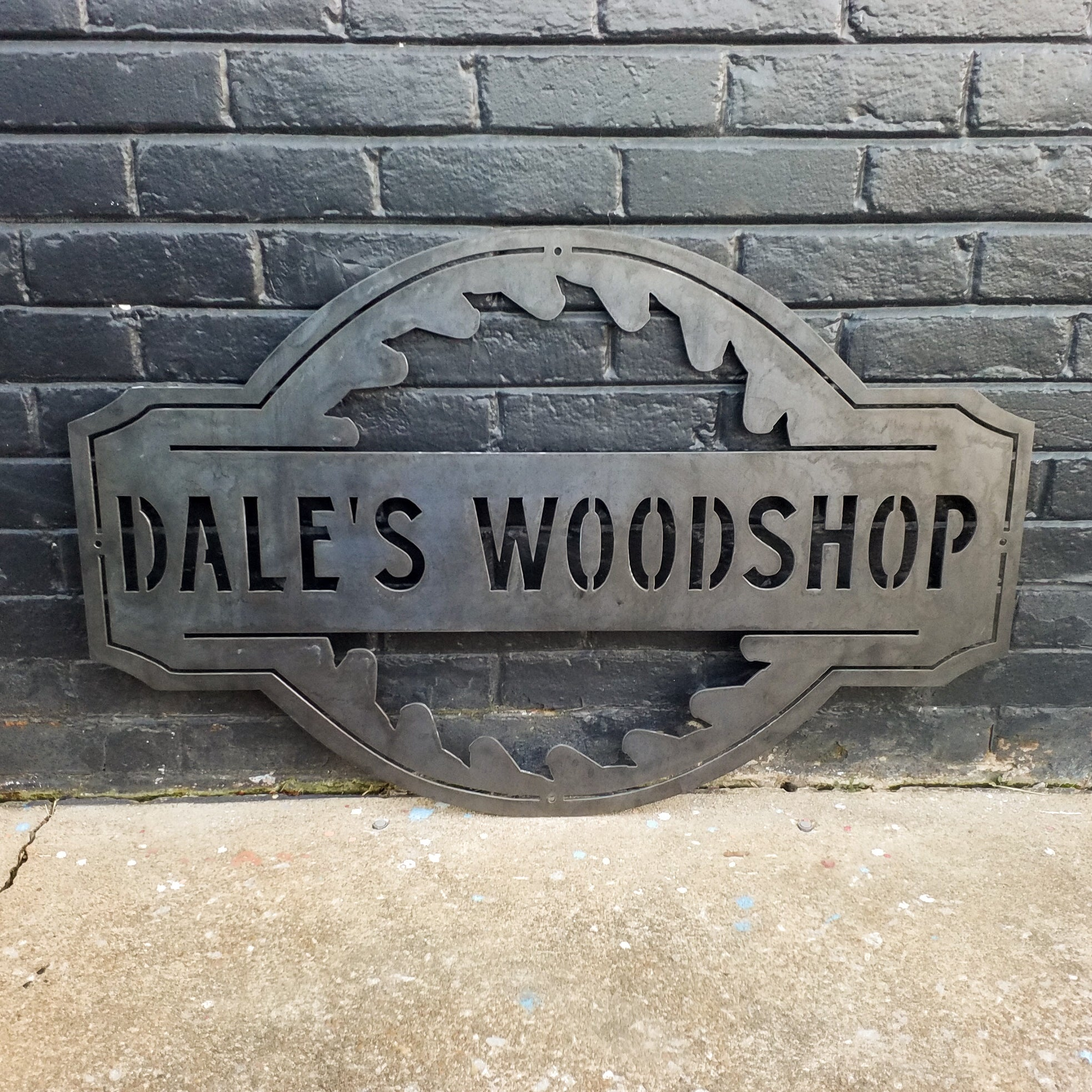 Personalized Woodshop Name Sign - Vintage Metal Workshop Decor - Man Cave Garage Wall Art