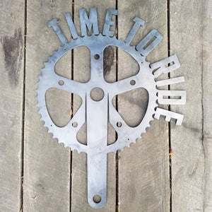 Time to Ride! Bike Gear - Fitness Home Gym Sign - Work Out, Exercise, Biking Metal Wall Art
