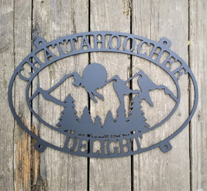 Mountain Sunset Cabin Sign-Personalized