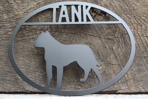 Pitbull Personalized Metal Dog Sign - Metal Dog Sign - Custom Pet Name Sign