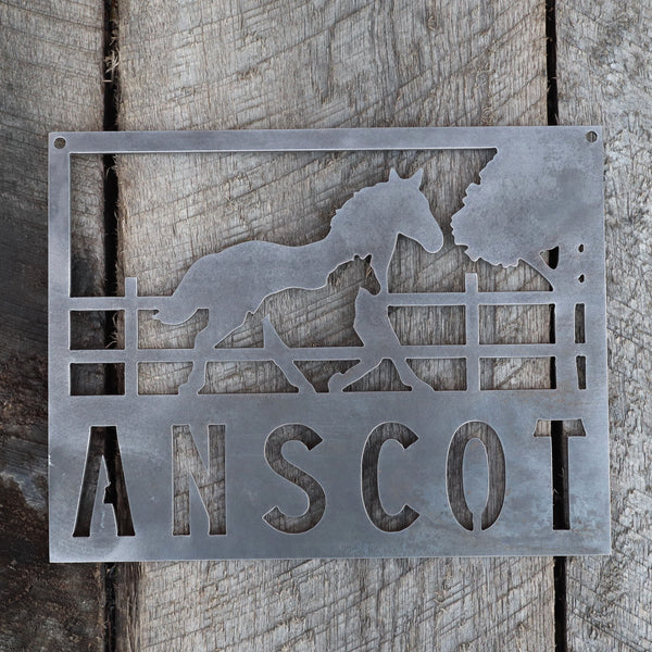 Personalized Metal Horse and Filly Sign - Equestrian, Stables, Western, Country